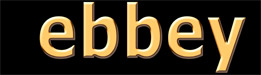 'ebbey' in gold letters